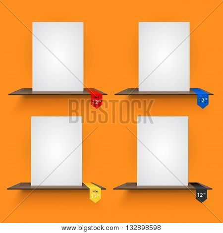 Book shelves with lables on light orange background. Vector illustration