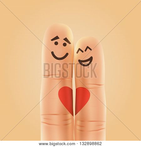 Pair of happy fingers smiley in love. Vector illustration
