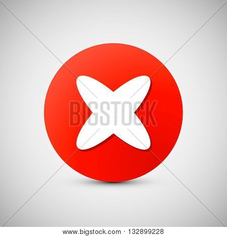 Red circle icon with white cross, X shape. Delete, remove, quit button. Vector illustration