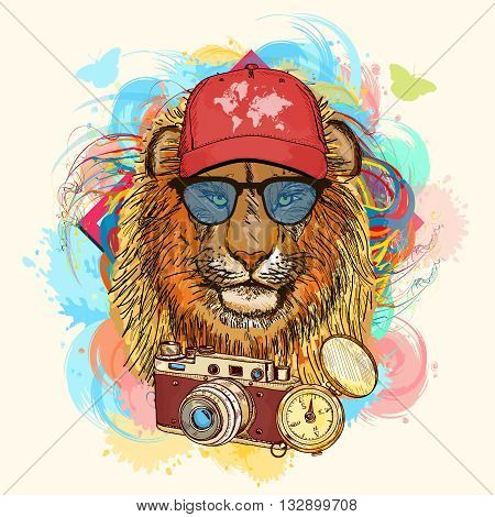 Hipster lion hand drawn animal art print vector illustration
