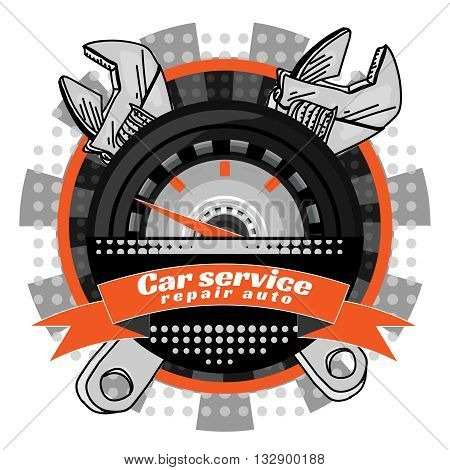 Car service crossed wrenches pop art vector illustration