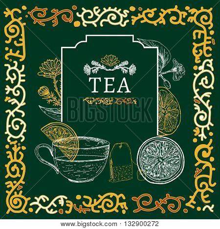 Tea time tea ceremony tea herbs vintage sketch vector