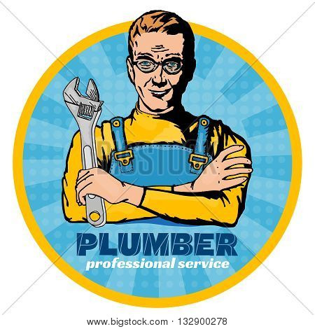 Plumber with wrench pop art vector set