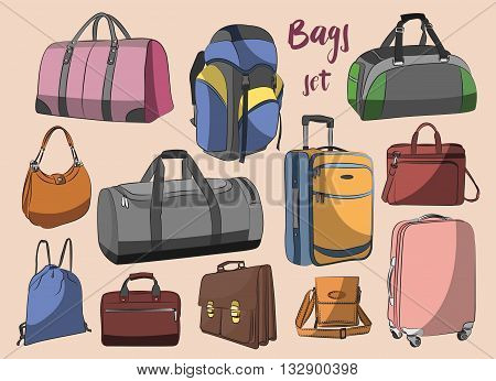 Different types of bags, cases, suitcases, backpacks, kids backpack, box, Lady bag, carry-on luggage, purse and other. Vector illustration