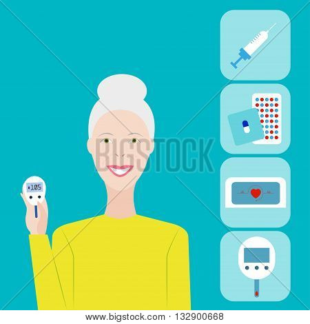 Diabetes. Vector illustration Life with diabetes. Old woman with glucometer. Diabetes poster