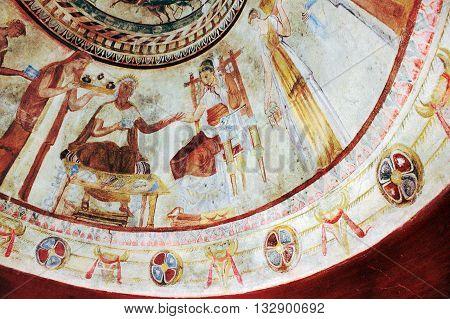 Kazanlak Bulgaria - 15 July 2015: Detail of Fresco in the 4th century BCE Thracian Tomb of Kazanlak an UNESCO World Heritage Site.