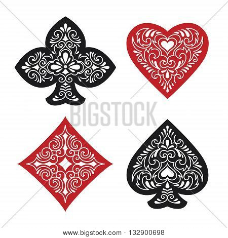Vector illustration of four ornate card suits
