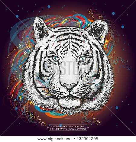 White tiger in outer space art print hand drawn animal illustration
