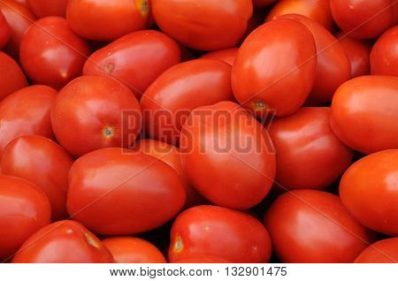close ip of a stall of tomatoes on the market