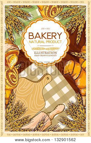 Bakery products template fresh bread cooking table hand drawn vector illustration