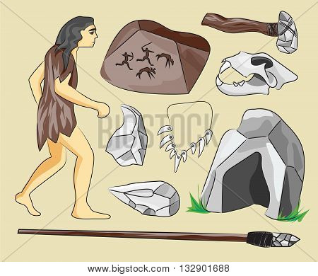 Prehistoric stone age icons set presenting life of cavemen and their primitive tools flat isolated vector illustration