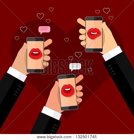 Phone speak concept. Hands holding phone with speaking female mouth on display.