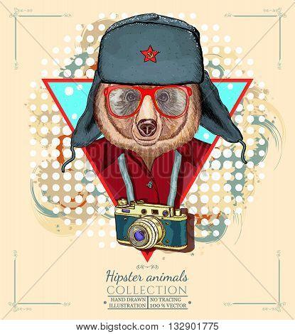 Portrait of fashion bear hipster animals hand drawn vector illustration