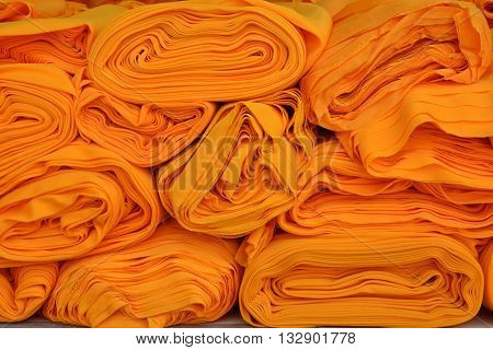 yellow robe of Buddhist monk pattern background