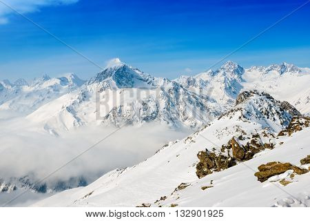 Beautiful Winter Snow Covered Peaks Of Dombaj Mountain, Close Up