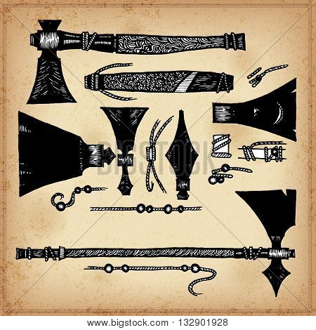 Set of hand drawing ink elements of American Indian axes and Tomahawks. Vector illustration. Elements in native style for greeting card and postcard, henna and tattoo design.
