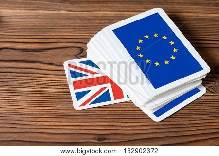 Collage On Event Brexit Uk Eu Referendum Concept Of Card Game Shootout, Close Up