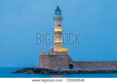 Venetian harbor in night light, Crete, Chania