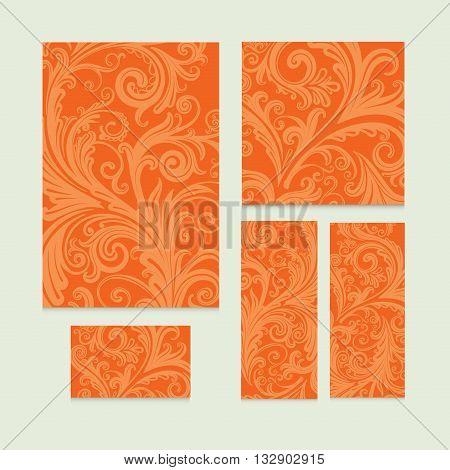 Vector orange royal vintage Victorian set in Victorian style. Element for design. Ornamental backdrop. Ornate decor for invitations, menu, interior design.