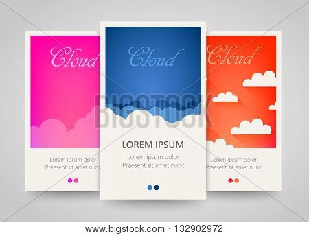 Modern colorful vertical cloud banners. Cloudy flyer set. Bright backgrounds with clouds motive. Vector illustration