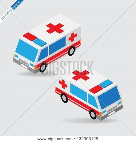 isometric space - ambulance side views with two sirens light