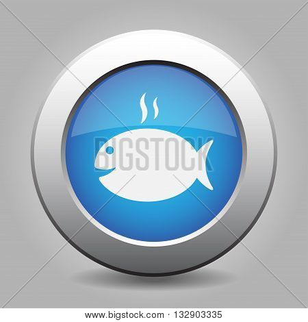 blue metal button - white grilling fish with smoke