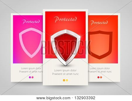 Modern colorful vertical protection motive banners. Abstract flyer set with shields. Safety concept background. Vector illustration