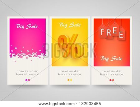 Modern colorful vertical banners with price labels and percent signs. Sale concept background. Vector illustration