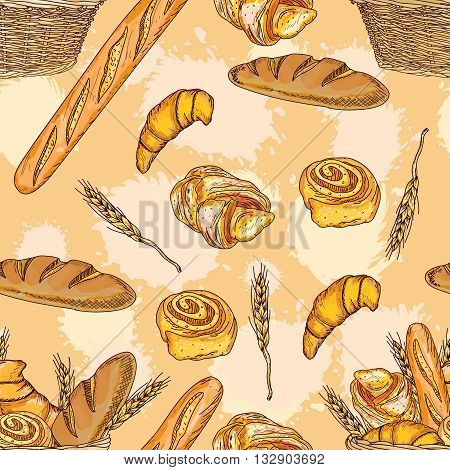 Bakery seamless pattern bakery products fresh bread loaves and rolls hand drawn vector illustration