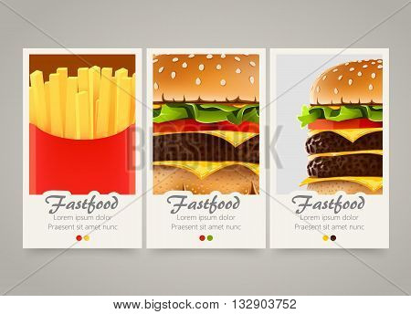 Modern colorful vertical fastfood banners. Food flyer set. Bright backgrounds with burger, cheeseburger and french fries. Potato and burger fastfood menu. Vector illustration