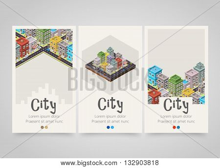 Modern colorful vertical city banners. City map or travel flyer set. Backgrounds with city, roads and cars. Decoration for cover, maps, travel flyers or tickets. Vector illustration