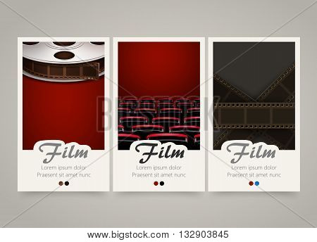 Modern colorful vertical cinema banners. Film, movie flyer or invitations set. Backgrounds with film tape, cinema theater armchairs and tape roll. Decoration for cinema tickets. Vector illustration