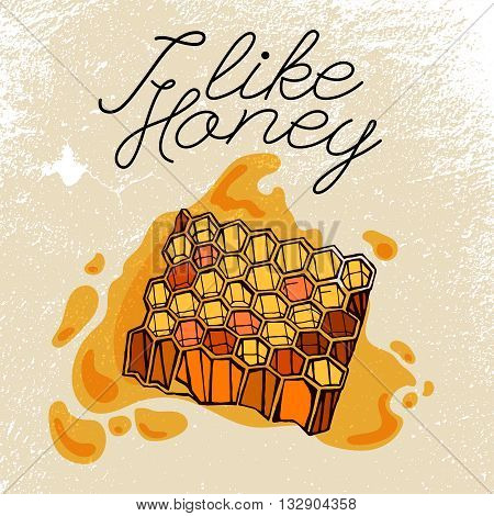 Beehive and honey. Hand drawn artistic image in black, yellow and orange colors on a light beige background. Editable vector illustration in unique style. I like honey concept