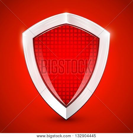 Shiny metal red shied. Protection concept. Vector illustration