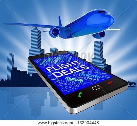 Flight Deals Represents Reduction Plane And Discounts 3D Rendering