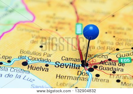 Sevilla pinned on a map of Spain