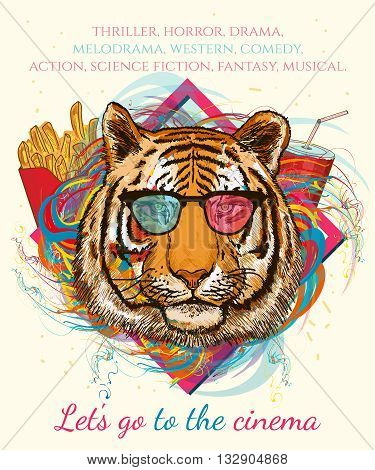 Portrait of hipster tiger. Movies and cinema hand drawn vector illustration animal art print