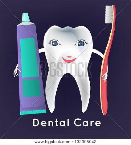 Tooth with toothbrush and toothpaste in childish style. Teeth hygiene concept. Dental image useful for poster, placard, leaflet and brochure design. Editable vector illustration