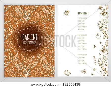 Biology scientific brochure template. Bright modern background for poster, print, flyer, book, booklet, brochure and leaflet design. Editable graphic image in white, brown and green colors
