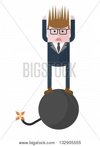 Businessman on a bomb that will explode. Conceptual image of a businessman character. Cartoon flat vector illustration. Objects isolated on a background.
