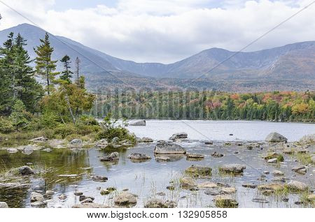 Warm fall day on Sandy Stream Pond in Baxter State Park