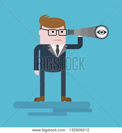 Businessman With Spyglass