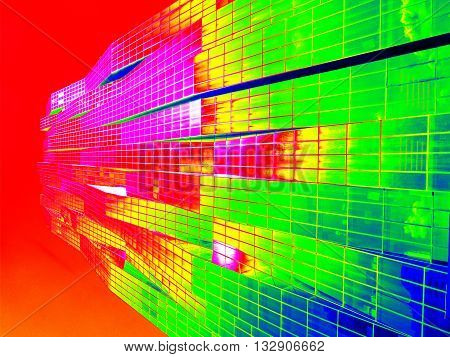 Thermal Scan Of  Skyscraper Sticking Into Sky. High Steel Concrete Building.