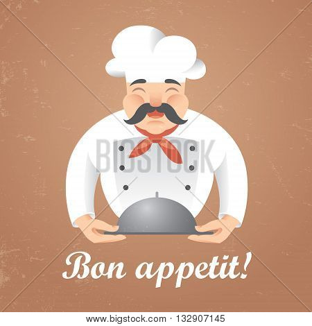 Stylized illustration of funny chef cook holding a tray i n vector