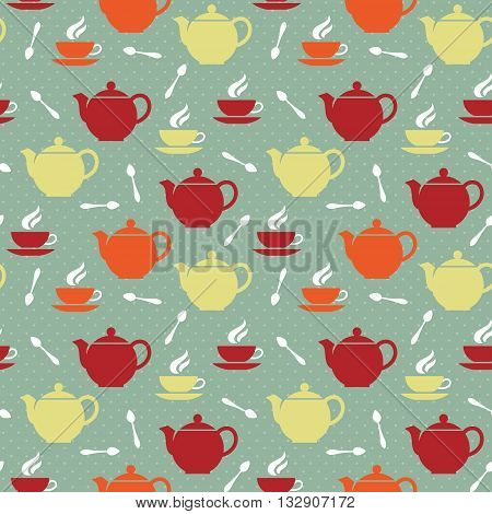 Seamless pattern with colored teapots teacups and teaspoons in retro style. Vector illustration