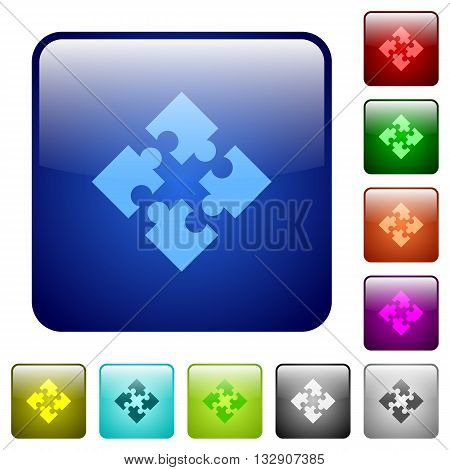 Set of modules color glass rounded square buttons