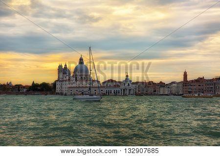 Santa Maria della Salute church on a sunset Venice Italy