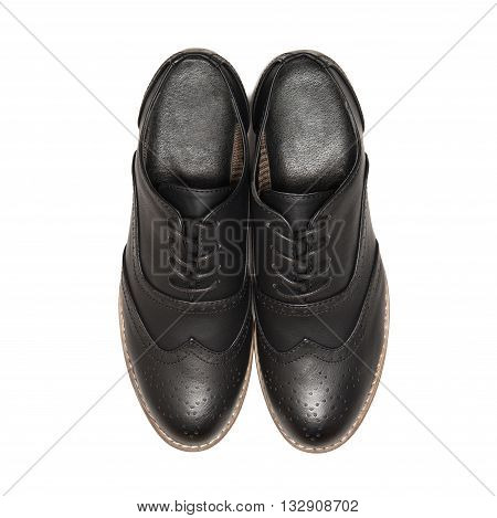 Black shoes isolated on white background. top view