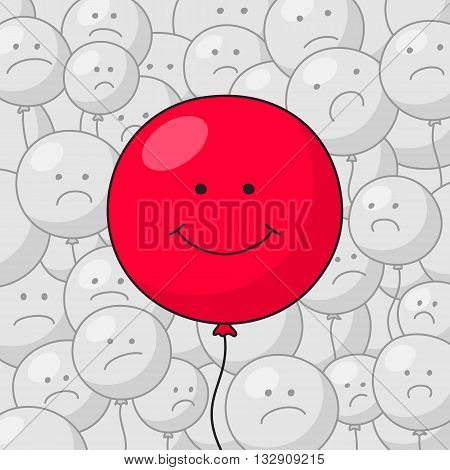 Big red balloon with funny smiling face at the foreground and many small gray balloons with disgruntled faces at the background. Success in business concept