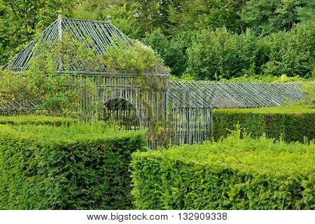 Versailles France - august 19 2015 : the Marie Antoinette estate in the park of Versailles Palace. garden of Petit Trianon